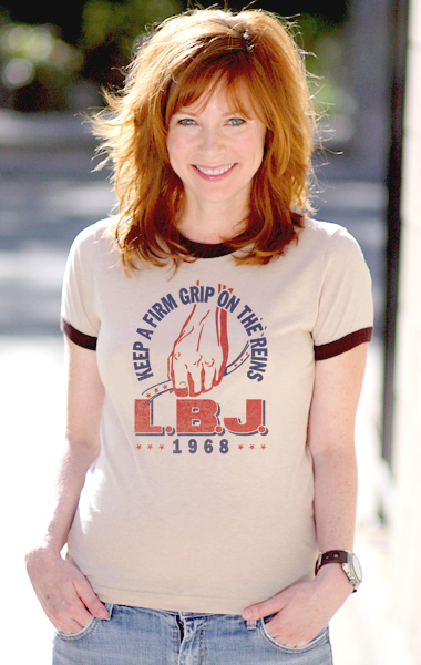 Lyndon Baines Johnson 'Keep A Firm Grip On The Reins' 1968 Presidential Campaign T-Shirt - Womens
