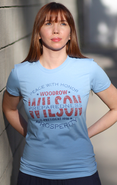 Woodrow Wilson for President 1916 - 'Peace With Honor' - Campaign T-Shirt - Womens