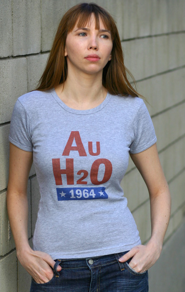 Barry Goldwater 'AuH2O' 1964 Presidential Campaign T-Shirt - Womens (Model: Andrea Mekshes)