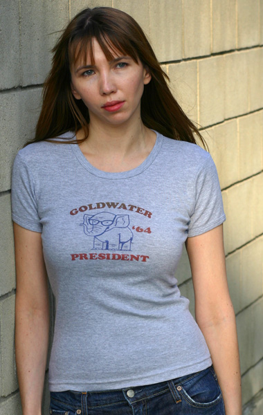 Barry Goldwater 'Elephant with Glasses' 1964 Presidential Campaign T-Shirt - Womens (Model: Andrea Mekshes)