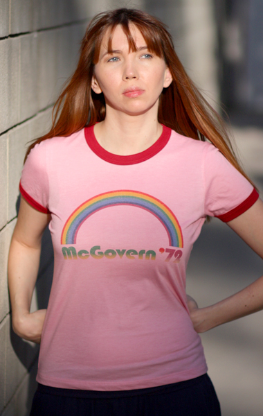 George McGovern Rainbow 1972 Presidential Campaign T-Shirt - Womens (Model: Andrea Mekshes)