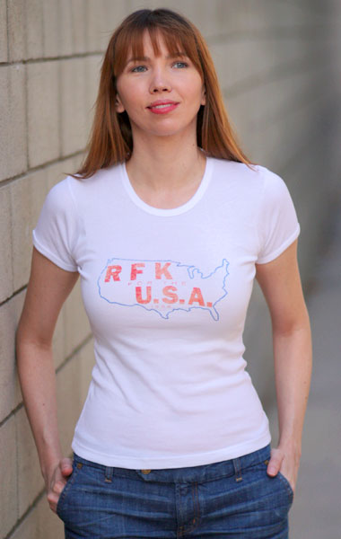 Robert 'Bobby' Kennedy 'RFK for the USA' 1968 Presidential Campaign T-Shirt - Womens (Model: Andrea Mekshes)