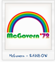 George McGovern with Rainbow 1972 Presidential Campaign T-Shirt