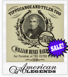 William Henry Harrison 'Tippecanoe and Tyler Too' 1840 Presidential Campaign T-Shirt